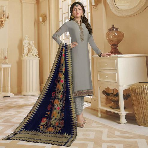 Pleasant Gray Colored Partywear Embroidered Georgette Satin Suit With Banarasi Silk Dupatta