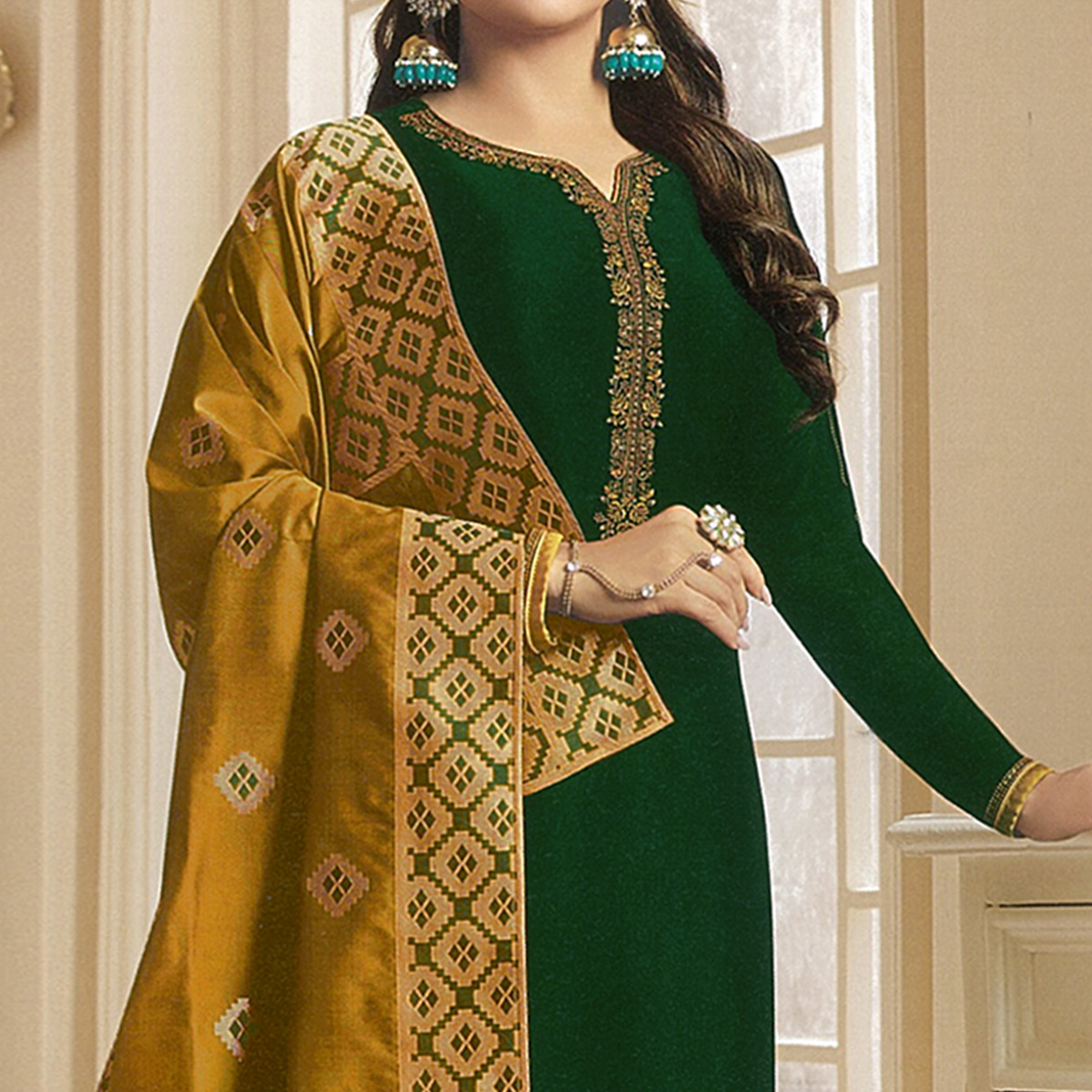 Opulent Dark Green Colored Partywear Embroidered Georgette Satin Suit With Banarasi Silk Dupatta