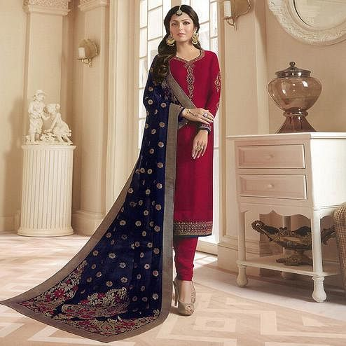 Energetic Maroon Colored Partywear Embroidered Georgette Satin Suit With Banarasi Silk Dupatta