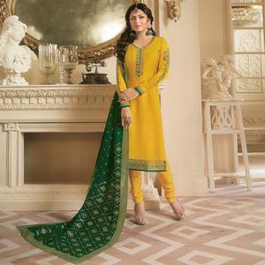 Glowing Yellow Colored Partywear Embroidered Georgette Satin Suit With Banarasi Silk Dupatta