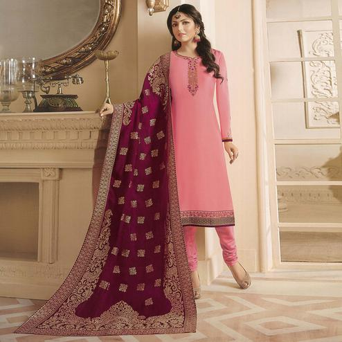 Exceptional Pink Colored Partywear Embroidered Georgette Satin Suit With Banarasi Silk Dupatta