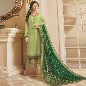 Gleaming Pastel Green Colored Partywear Embroidered Georgette Satin Suit With Banarasi Silk Dupatta