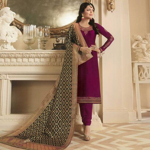 Mesmeric Violet Colored Partywear Embroidered Georgette Satin Suit With Banarasi Silk Dupatta