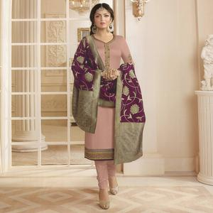 Demanding Pastel Pink Colored Partywear Embroidered Georgette Satin Suit With Banarasi Silk Dupatta