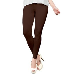 Fantastic Coffee Brown Colored Casual Wear Ankle Length Leggings