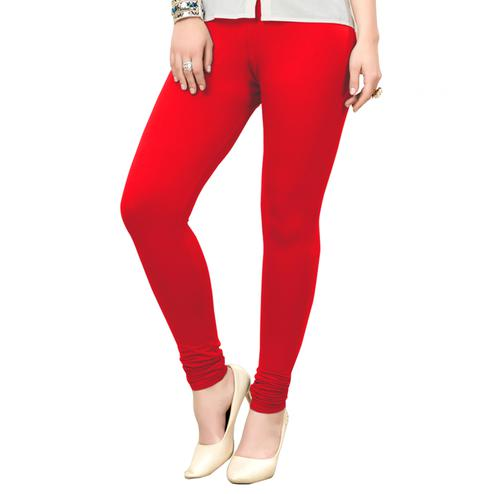 Hypnotic Red Colored Casual Wear Ankle Length Leggings