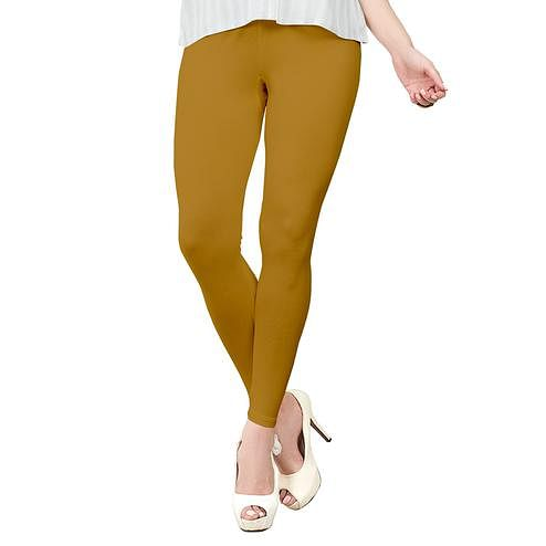 Impressive Rust Orange Colored Casual Wear Ankle Length Leggings