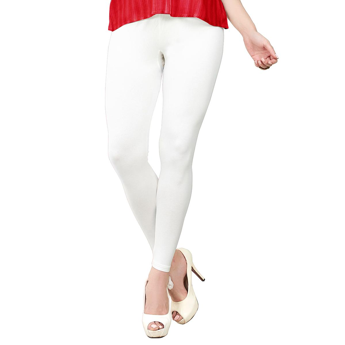 Pleasance White Colored Casual Wear Ankle Length Leggings
