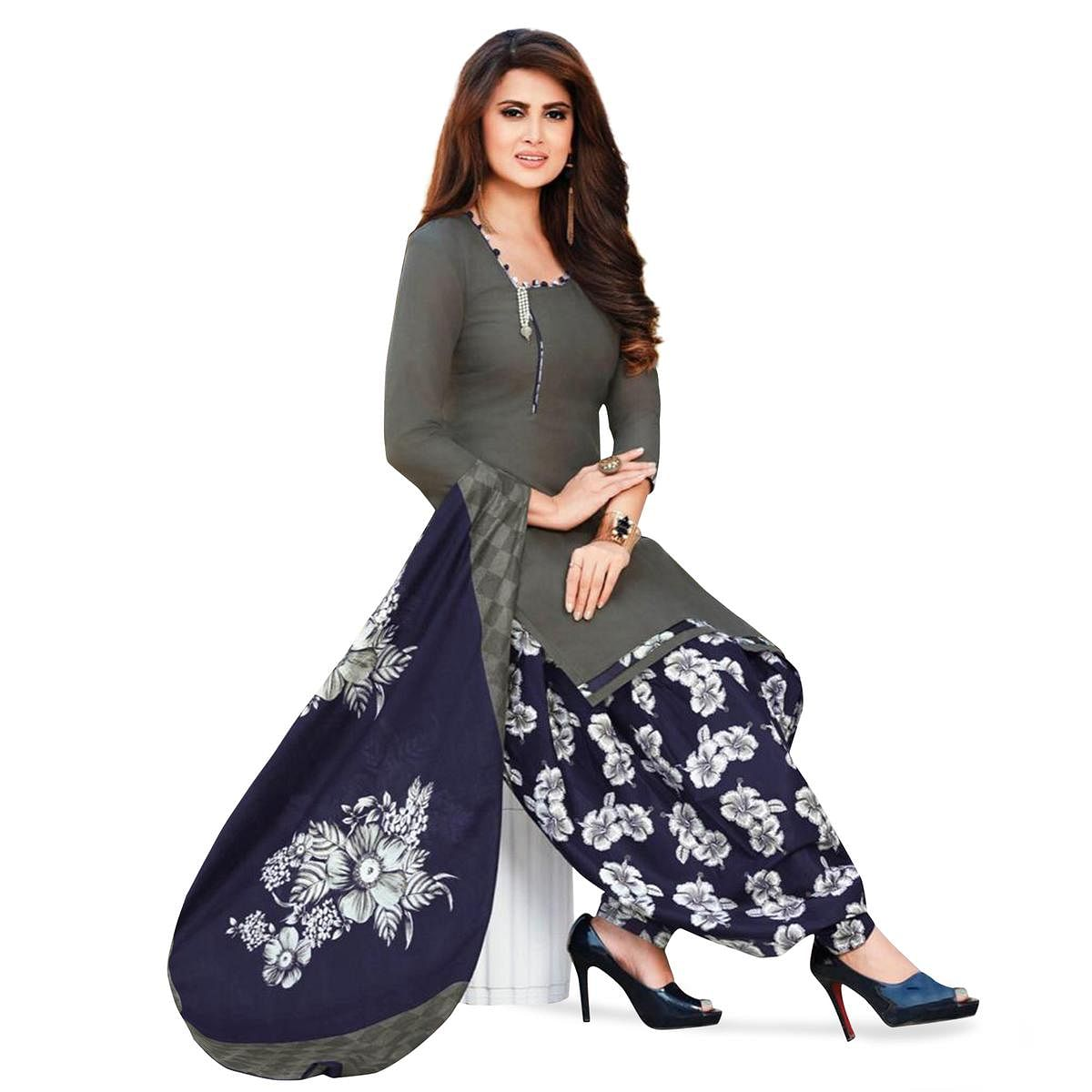 Glorious Gray Colored Casual Printed Crepe Patiala Suit