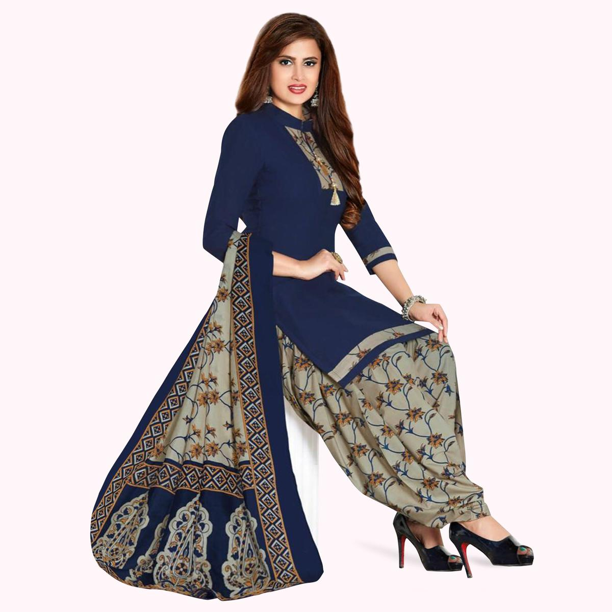 Attractive Navy Blue Colored Casual Printed Crepe Patiala Suit