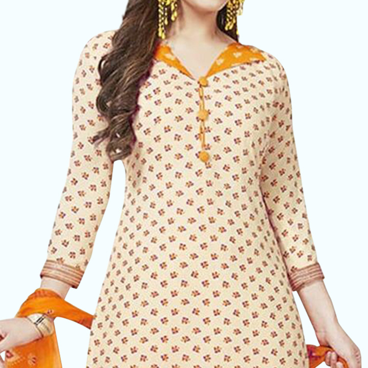 Beautiful Cream Colored Casual Printed Crepe Patiala Suit