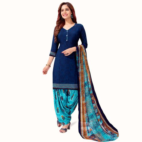 Blooming Navy Blue Colored Casual Printed Crepe Patiala Suit