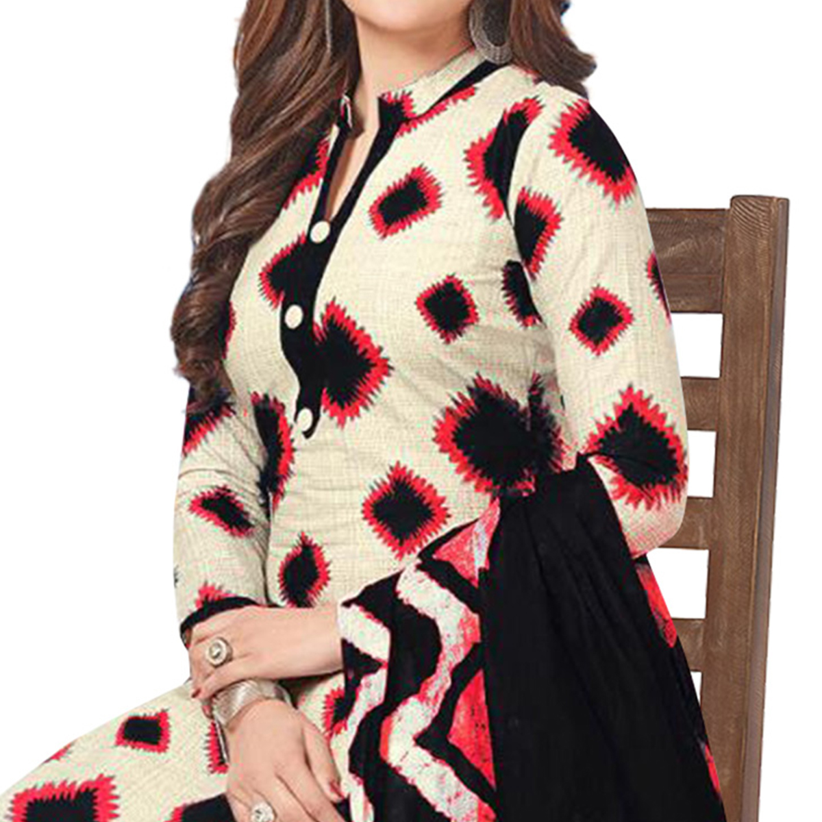 Charming Cream Colored Casual Printed Crepe Patiala Suit