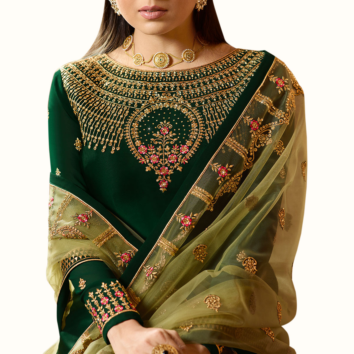 Excellent Dark Green Colored Partywear Embroidered Satin Georgette Lehenga Kameez