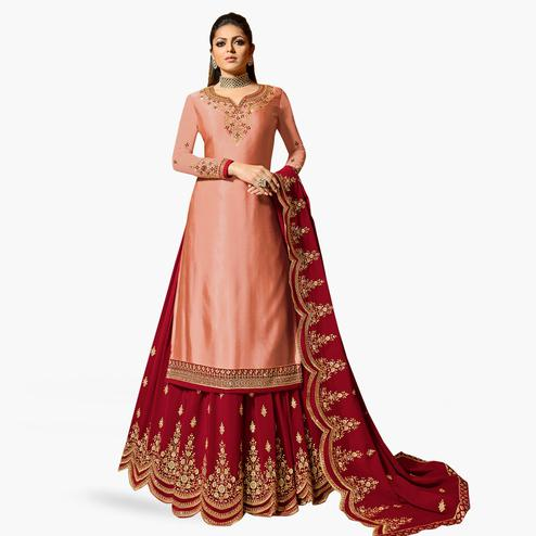 5ee656b973 Preferable Peach Colored Partywear Embroidered Satin Georgette Lehenga  Kameez