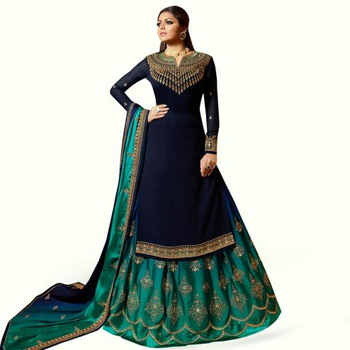Marvellous Navy Blue Colored Partywear Embroidered Georgette Lehenga Kameez