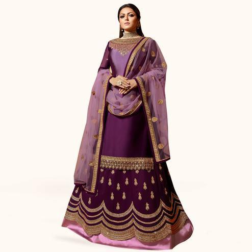 Flamboyant Purple Colored Partywear Embroidered Satin Georgette Lehenga Kameez