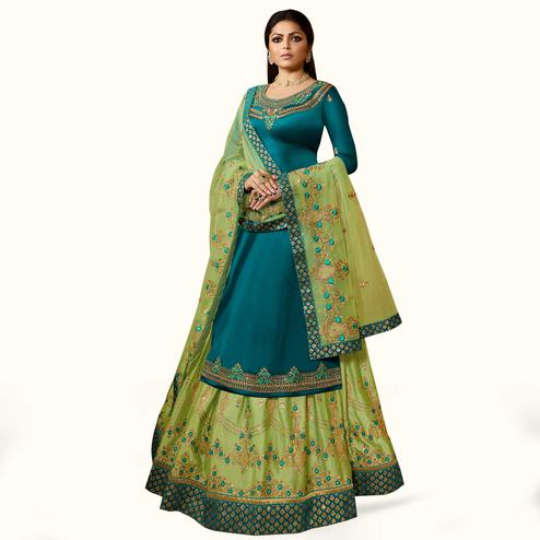 Pretty Rama Blue Colored Partywear Embroidered Satin Georgette Lehenga Kameez