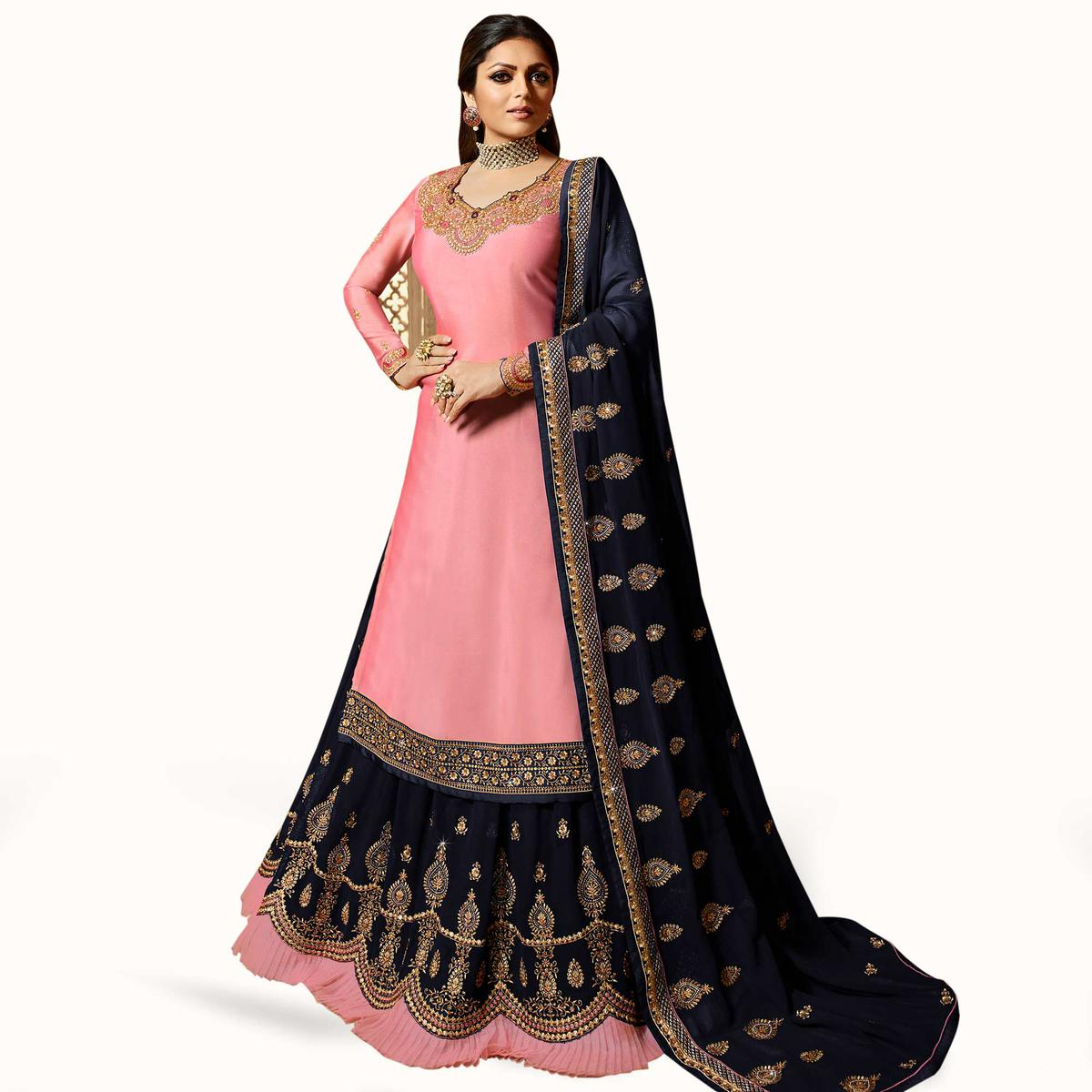 Alluring Light Pink Colored Partywear Embroidered Satin Lehenga Kameez