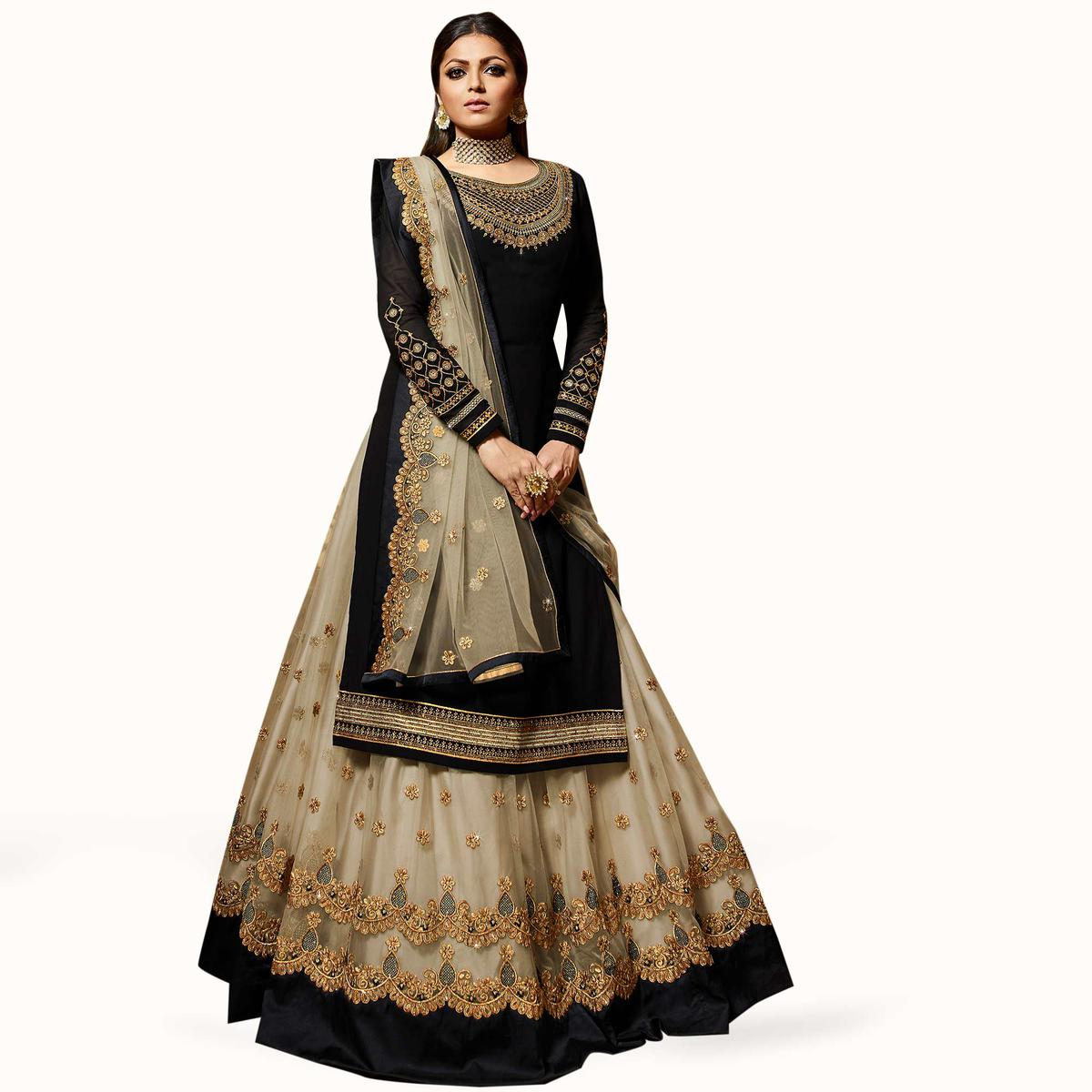 Sensational Black Colored Partywear Embroidered Georgette Lehenga Kameez