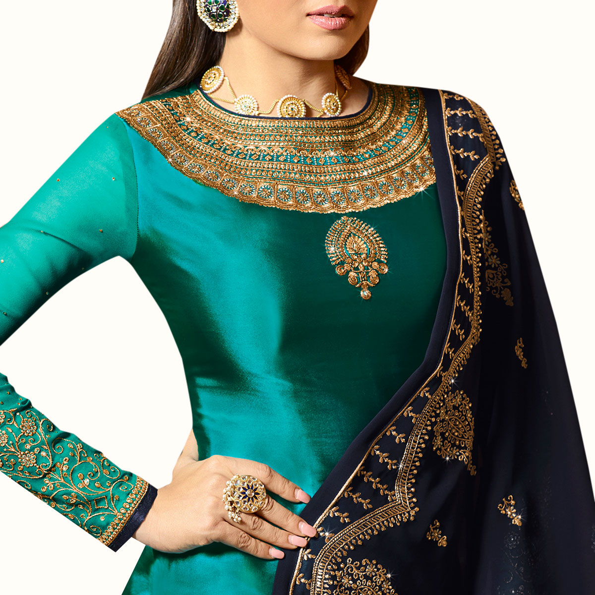 Flaunt Turquoise Green Colored Partywear Embroidered Satin Georgette Lehenga Kameez