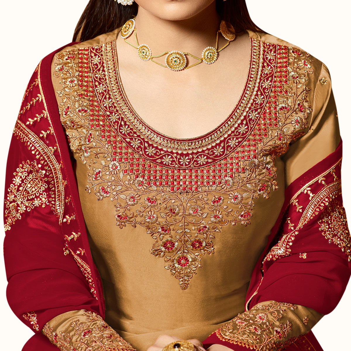 Flirty Light Brown Colored Partywear Embroidered Satin Georgette Lehenga Kameez