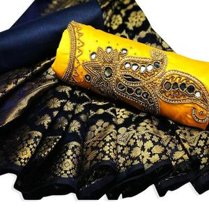 Delightful Yellow Colored Partywear Embroidered Glace Cotton Dress Material