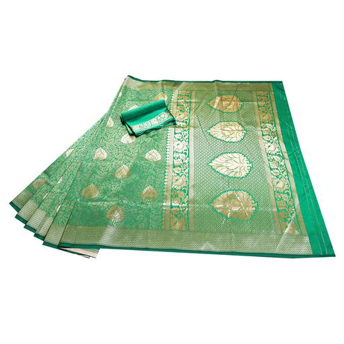 Glorious Green Colored Festive Wear Woven Banarasi Silk Saree