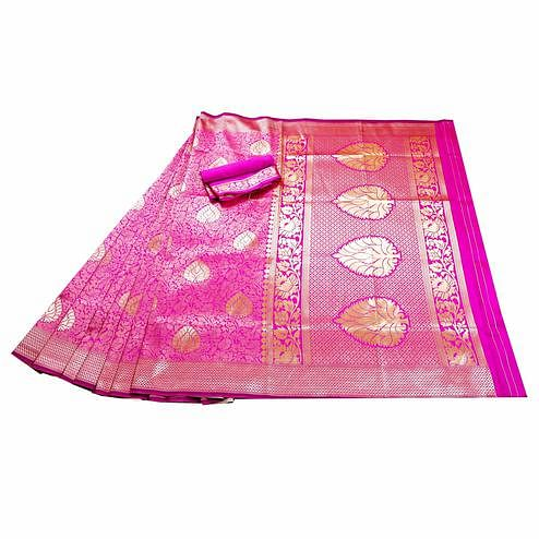 Attractive Pink Colored Festive Wear Woven Banarasi Silk Saree