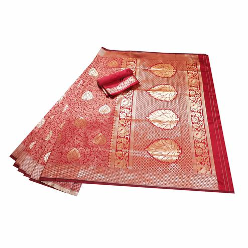 Beautiful Maroon Colored Festive Wear Woven Banarasi Silk Saree