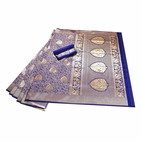 Graceful Navy Blue Colored Festive Wear Woven Banarasi Silk Saree