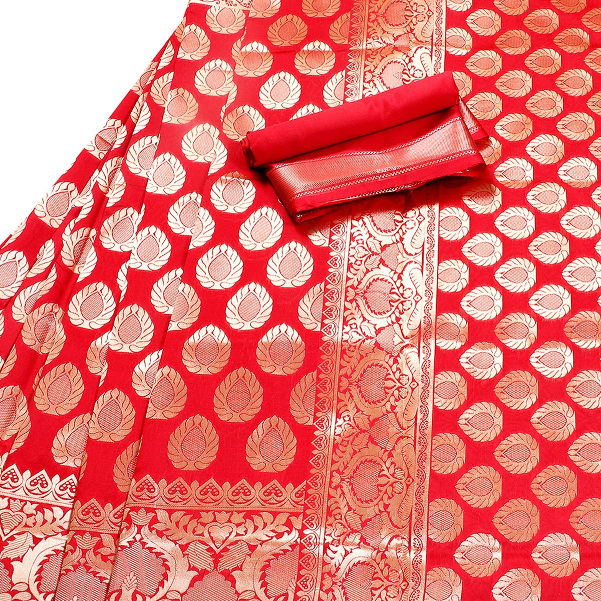 Captivating Red Colored Festive Wear Woven Banarasi Silk Saree