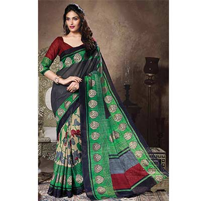 Green - Black Bhagalpuri Silk Saree