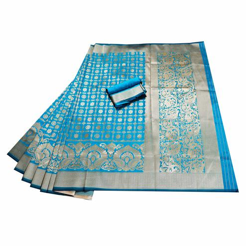 Majesty Blue Colored Festive Wear Woven Banarasi Silk Saree