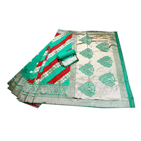 Breathtaking Green-Red Colored Festive Wear Woven Banarasi Silk Saree