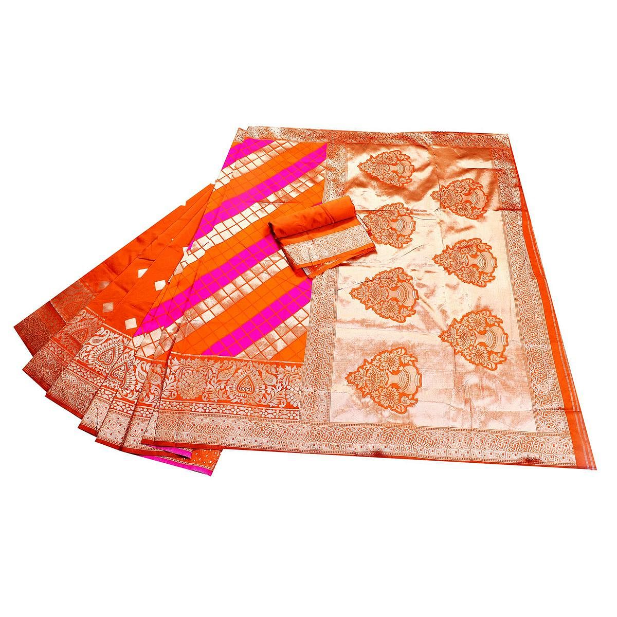 Ethnic Orange-Pink Colored Festive Wear Woven Banarasi Silk Saree