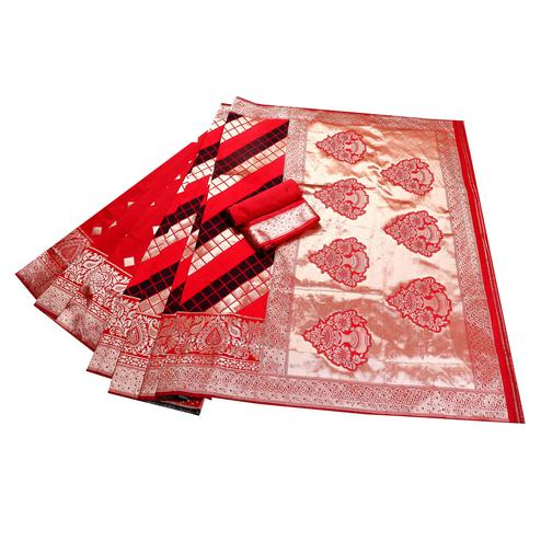 Staring Red-Black Colored Festive Wear Woven Banarasi Silk Saree