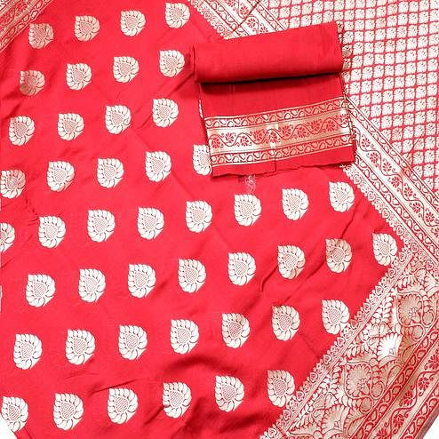 Blooming Red Colored Festive Wear Woven Banarasi Silk Saree