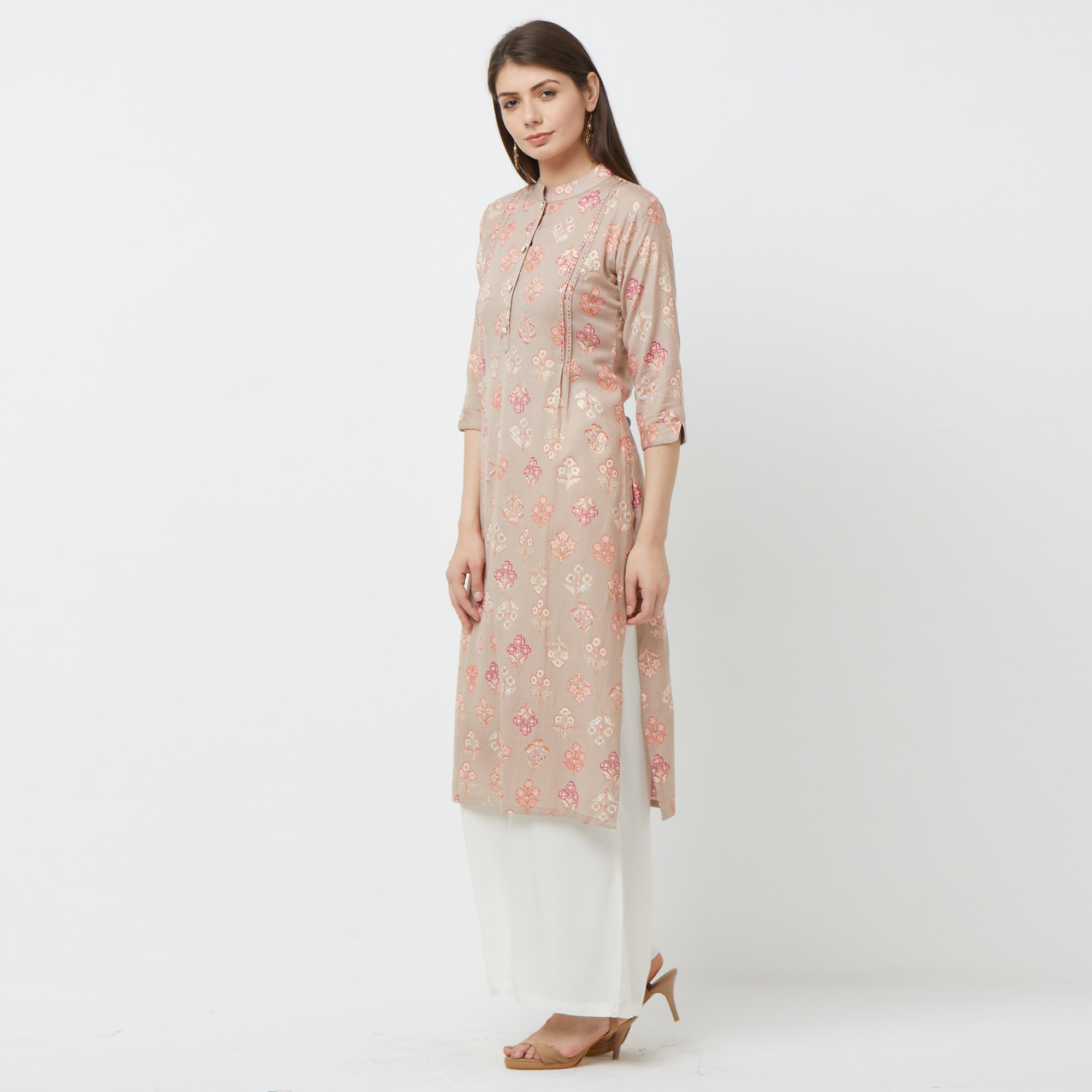 Mesmerising Light Brown Colored Partywear Embroidered Cotton Kurti-Palazzo Set