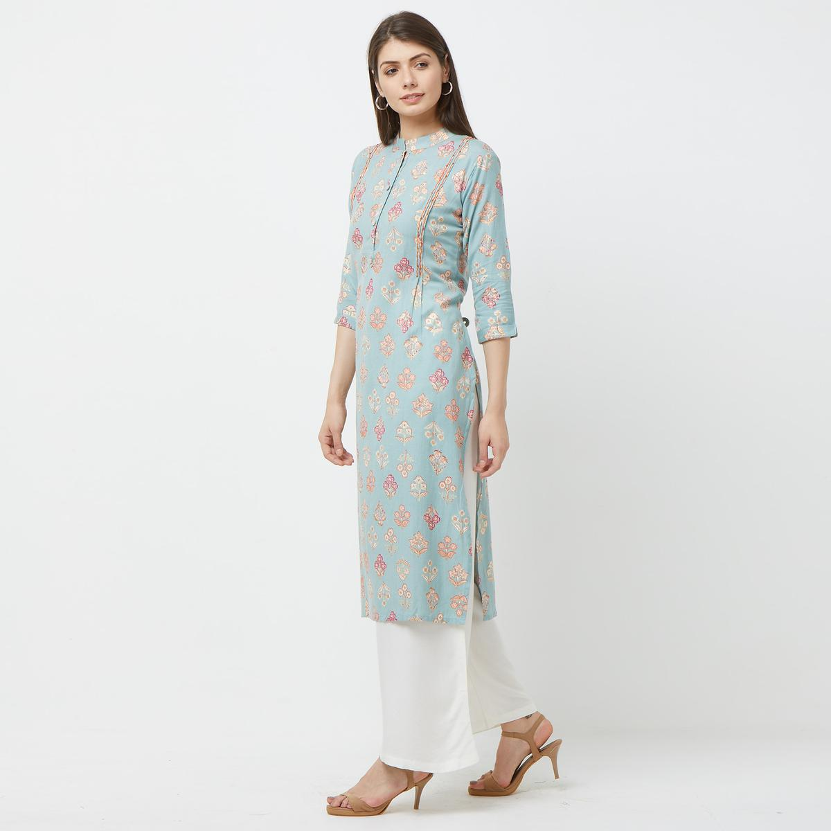 Pleasance Light Blue Colored Partywear Embroidered Cotton Kurti-Palazzo Set