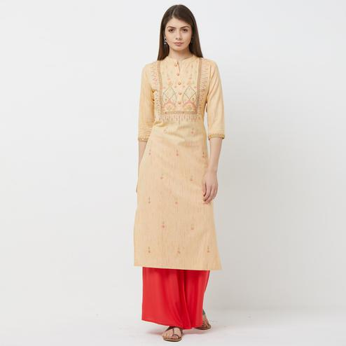 Breathtaking Yellow Colored Partywear Embroidered Cotton Kurti
