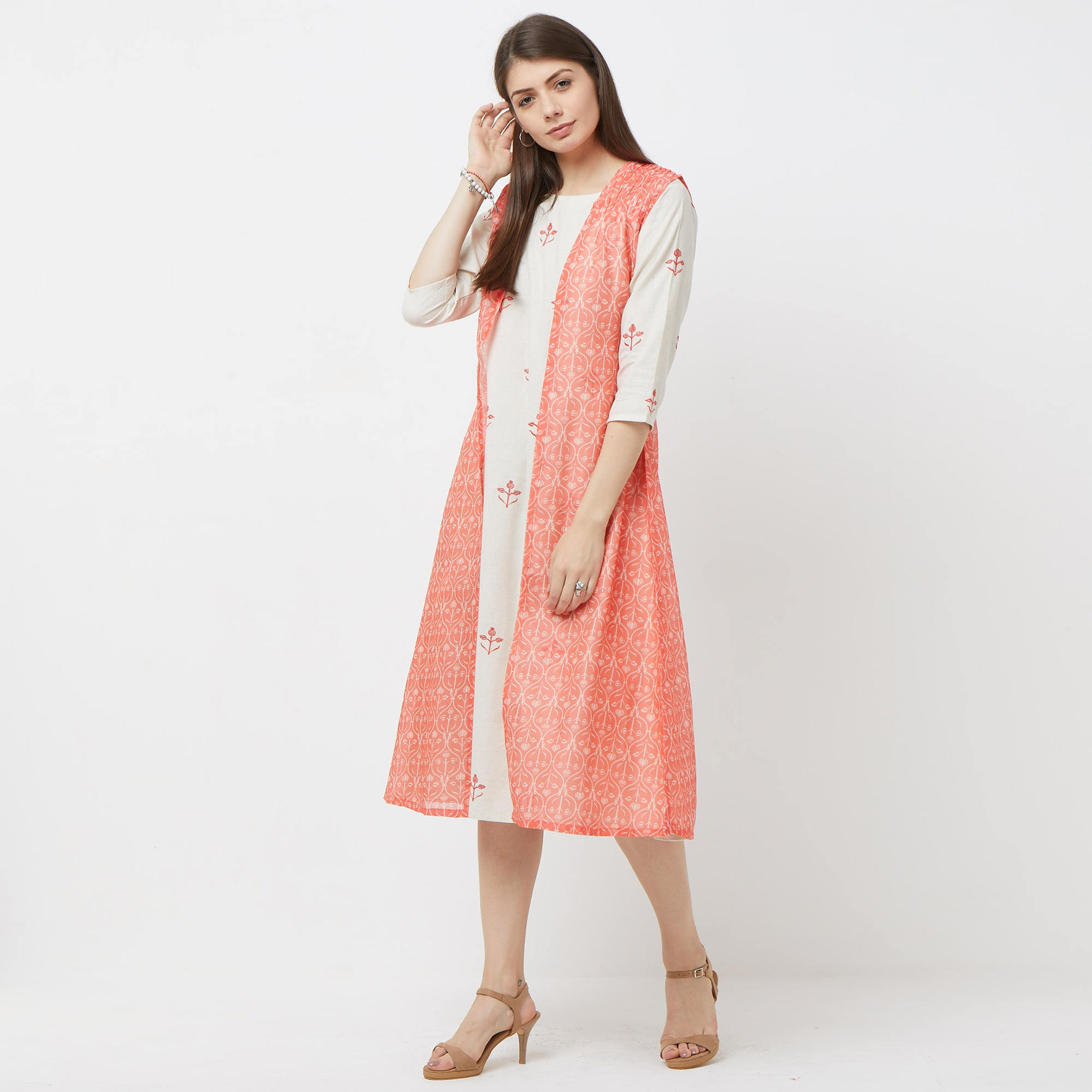 Ethnic Cream-Red Colored Partywear Embroidered Jacket Style Cotton Kurti