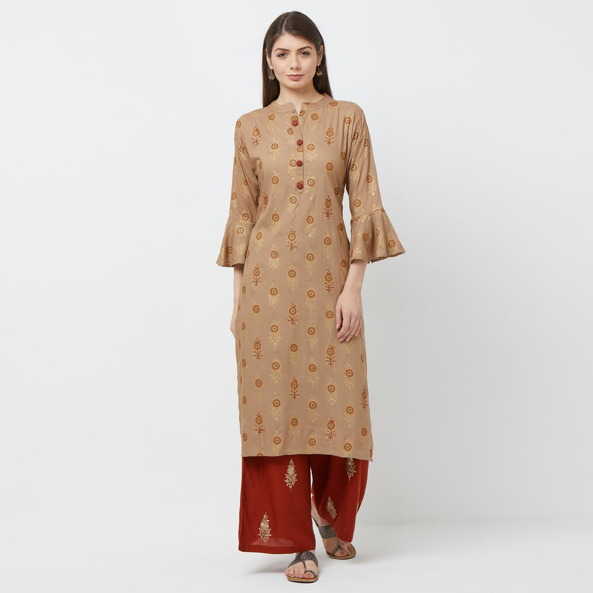 Dazzling Light Brown Colored Partywear Embroidered Cotton Kurti-Palazzo Set