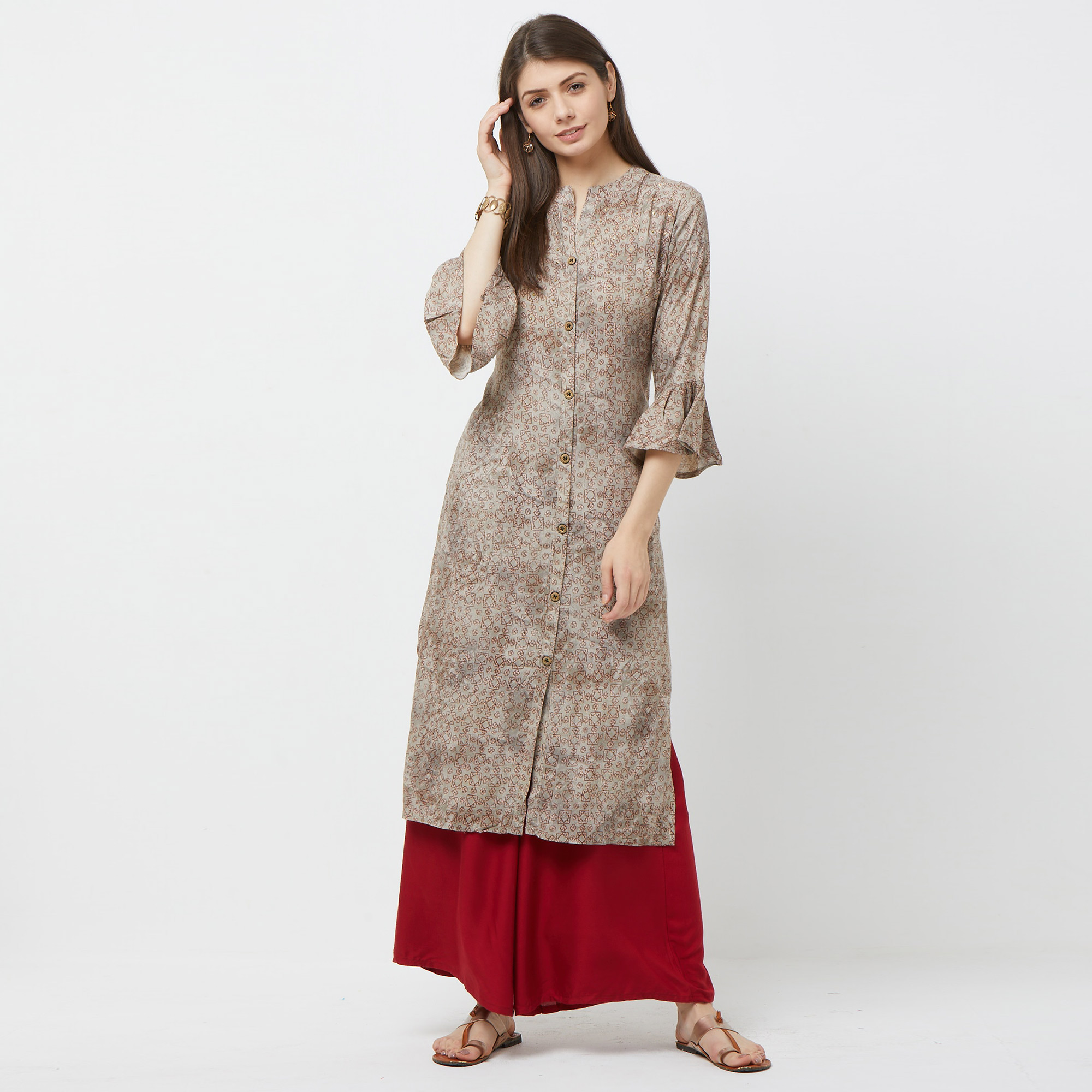 Surpassing Gray Colored Partywear Embroidered Rayon Kurti