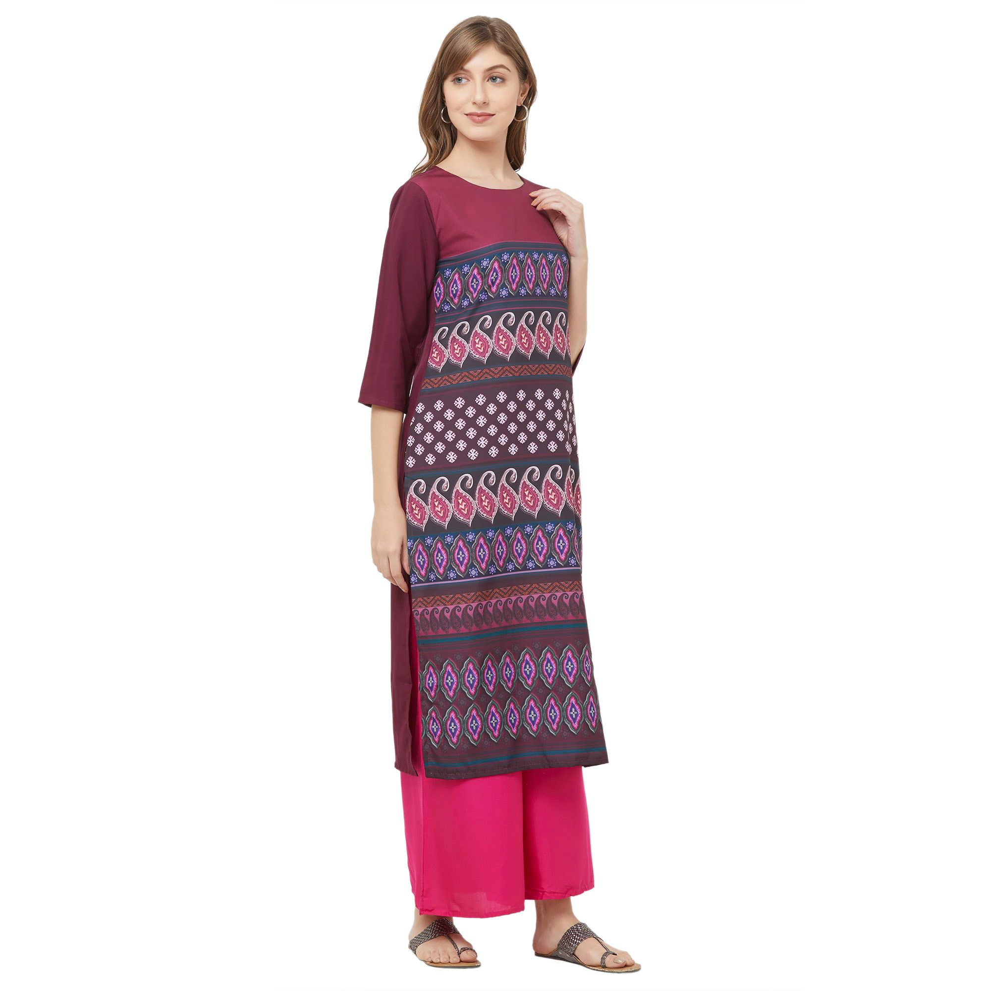 Ideal Multi Colored Casual Printed Crepe Kurti