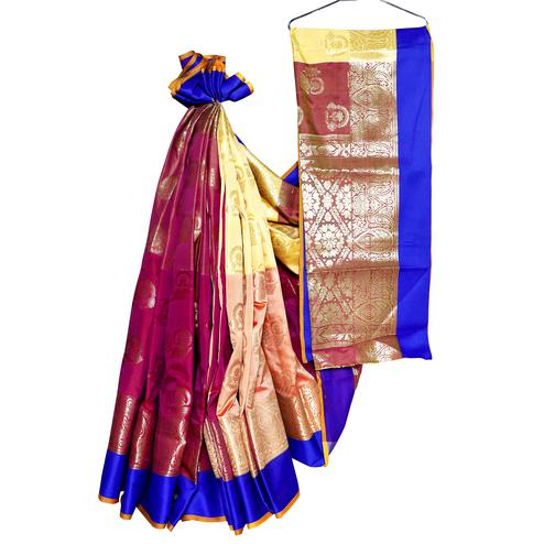 Fantastic Pink-Peach Colored Festive Wear Woven Banarasi Silk Saree