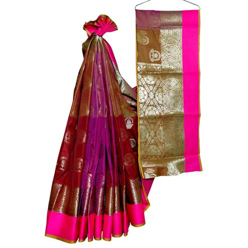 Amazing Maroon-Pink Colored Festive Wear Woven Banarasi Silk Saree