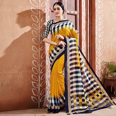 Yellow - Black Bhagalpuri Silk Saree