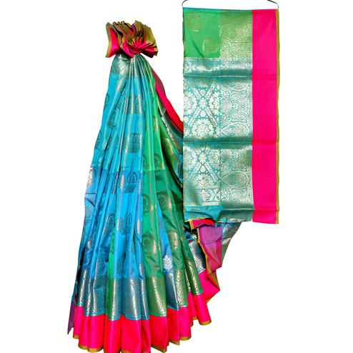 Gorgeous Blue-Green Colored Festive Wear Woven Banarasi Silk Saree