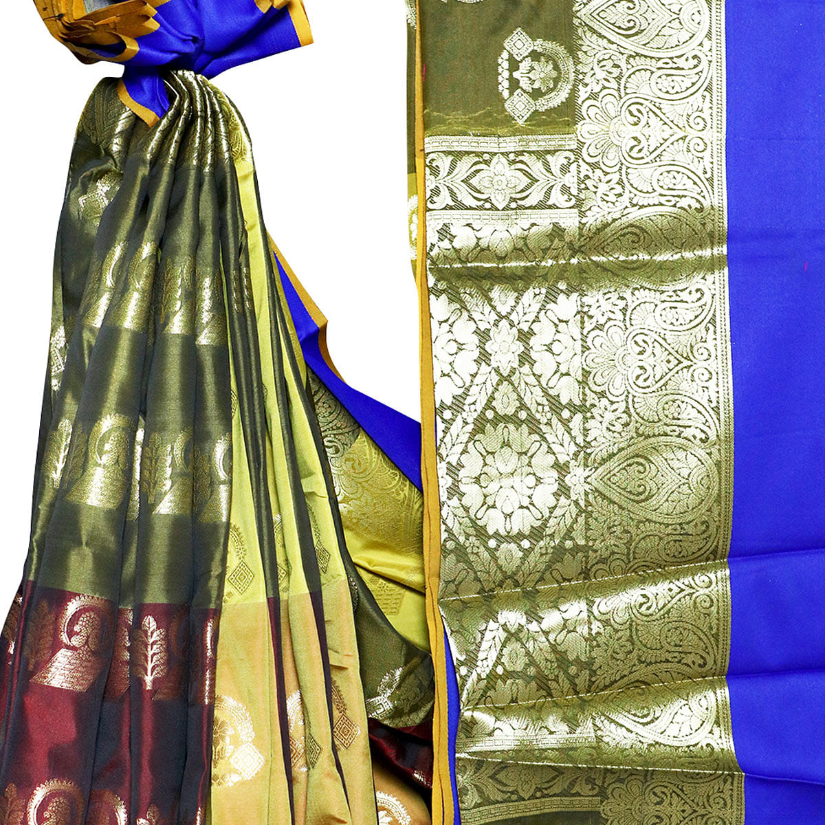 Intricate Olive Green-Maroon Colored Festive Wear Woven Banarasi Silk Saree